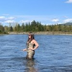 Your host Jenn fly fishing our world famous Steelhead