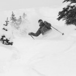 Your Host Jevon slaying powder in the mountains behind The Suskwa Lodge